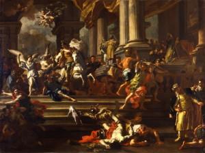 """Francesco Solimena, bozzetto per """"La Cacciata di Eliodoro"""". Torino. Pinacoteca Sabauda"""