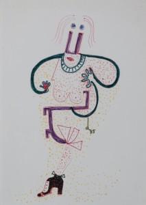 Senza titolo, 1985 matita e pennarello su carta cm 30×19,5. Courtesy Museo mmmac