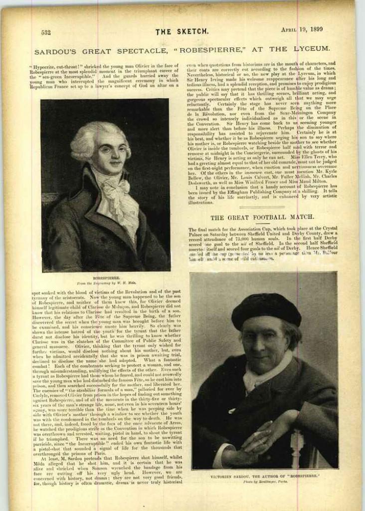 """Una pagina dal giornale inglese «The Sketch» del 1899, dedicata al """"Robespierre"""" di Sardou"""