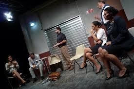 """Una scena dello spettacolo """"Garage"""", regia di L. Serao"""