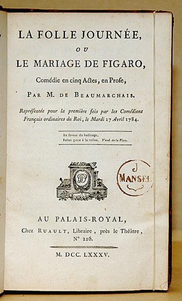 """Frontespizio della prima edizione della commedia """"Le nozze di Figaro"""""""