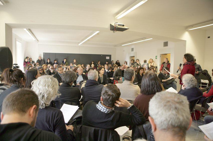 Una immagine della conferenza stampa dell' Assemblea Permanete svoltasi al PAN